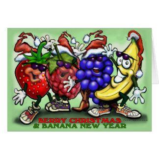 Berry Christmas Banana New Year Card