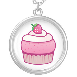 berry cupcake round pendant necklace