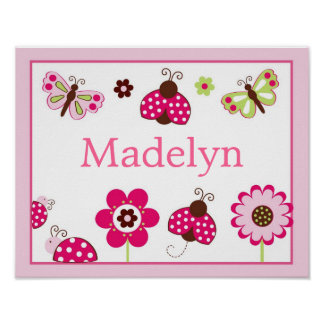 Berry Garden Ladybug Butterfly Name Print Poster