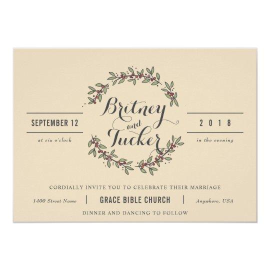 Berry Green Laurel Vintage Wedding Invitation