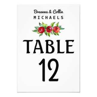 Berry Holiday Wedding Reception Table Number Card