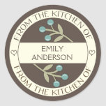 Berry Lovely From the Kitchen of Label   Brown Round Sticker