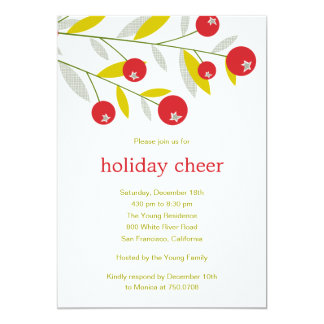 Berry Merry Christmas Holiday Party Invitation Card