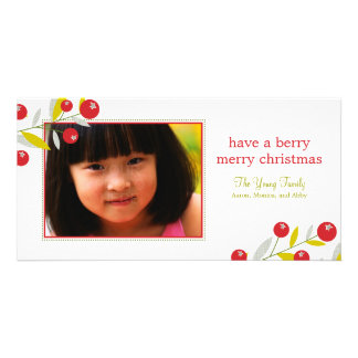 Berry Merry Christmas Holiday Photo Card Customized Photo Card