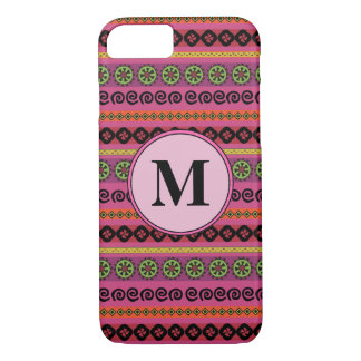 Berry Pink Boho Modern Aztec Pattern Monogram iPhone 8/7 Case