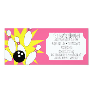 Berry Pink Rolling Good Time Bowling Party 10 Cm X 24 Cm Invitation Card