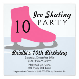 Berry Pink Skate Date Ice Skating Birthday Party Card