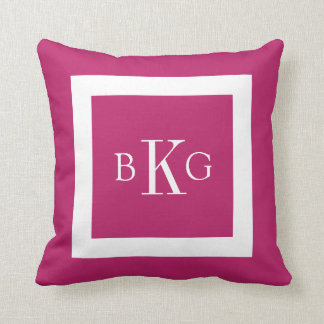 Berry Pink White Custom Monogram Throw Cushion