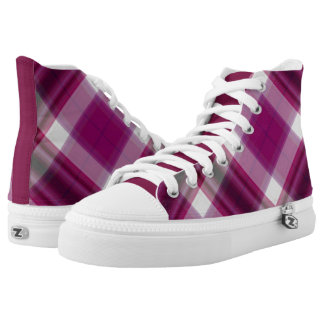 Berry Plaid High Top Sneakers