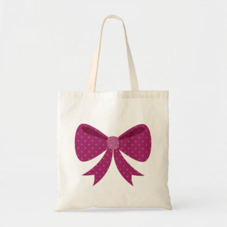 Berry Purple Cute Girly Polka Dot Bow Graphic Tote Bag