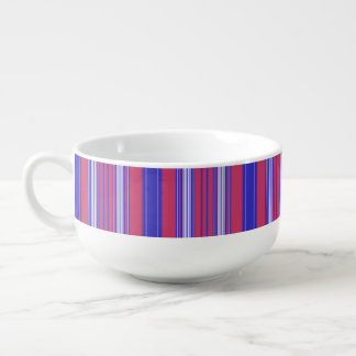 Berry Red Blue and White Stripe Soup Bowl With Handle