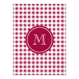 Berry Red White Gingham, Your Monogram 17 Cm X 22 Cm Invitation Card