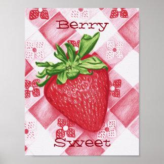 Berry Sweet Strawberry Art Poster