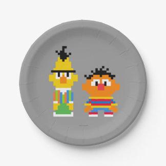 Bert and Ernie Pixel Art 7 Inch Paper Plate