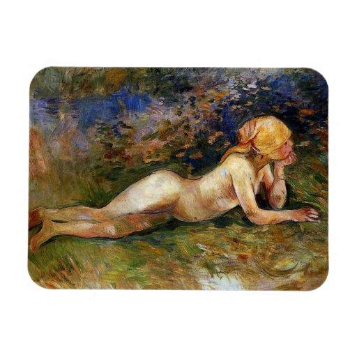 Berthe Morisot - The Reclining Sherperdess Rectangular Magnets