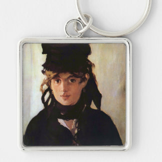 Berthe Morisot with a Bouquet of Violets, Manet Silver-Colored Square Key Ring