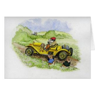 Bertie Badger in his new motorcar Card