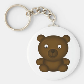 Bertie the Brown Bear Basic Round Button Key Ring
