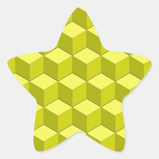 Berts Yellow Cubed Star Sticker