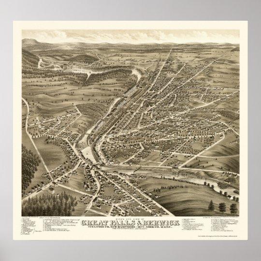 Berwick, ME & Great Falls, NH Panoramic Map - 1877 Poster