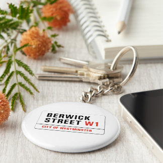 Berwick Street, London Street Sign Basic Round Button Key Ring