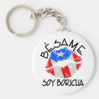 Besame Soy Boricua Kiss Me I'm Puerto Rican Key Ring