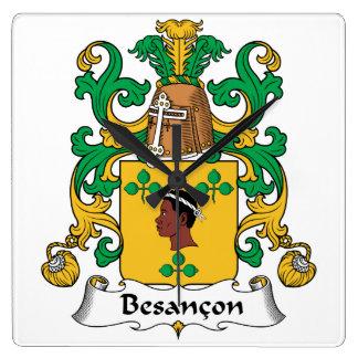 Besancon Family Crest Square Wallclocks
