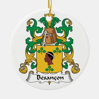 Besancon Family Crest Double-Sided Ceramic Round Christmas Ornament