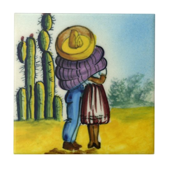 Beso - The Kiss Vintage Style Mexican Tile