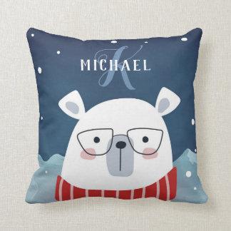 Bespectacled Polar Bear | Monogram Cushion