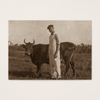 Bessie the Cow and her Farmer. Business Card