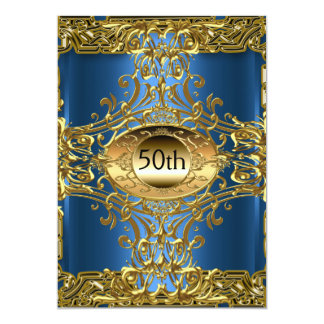 Best 50th Gold Birthday Party 13 Cm X 18 Cm Invitation Card