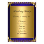 Best 50th Gold Blue Birthday Party 13 Cm X 18 Cm Invitation Card