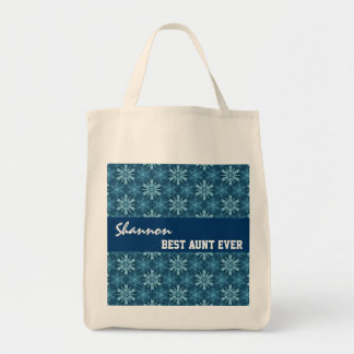 Best Aunt Ever Custom Name Geo Pattern Template Grocery Tote Bag