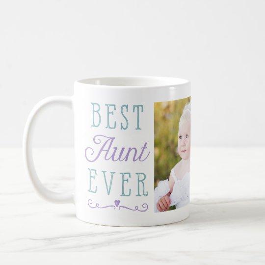 Best Aunt Ever Purple Teal Custom Photo Coffee