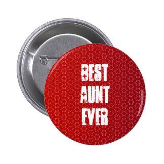 Best AUNT Ever Red Star Pattern Gift Idea 6 Cm Round Badge