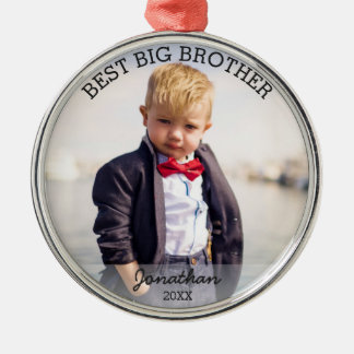 Best Big Brother New Baby Custom Christmas Photo Silver-Colored Round Decoration