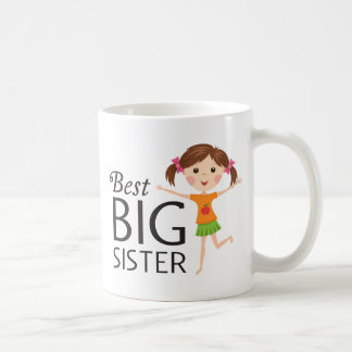Best big sister with happy cartoon girl cup mug