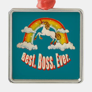 Best Boss Ever Silver-Colored Square Decoration