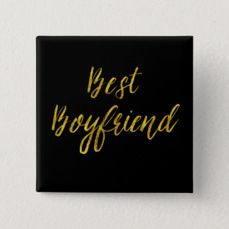 Best Boyfriend Gold Faux Glitter Metallic Sequins 15 Cm Square Badge