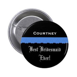 Best Bridesmaid Black and Blue Ribbon 6 Cm Round Badge