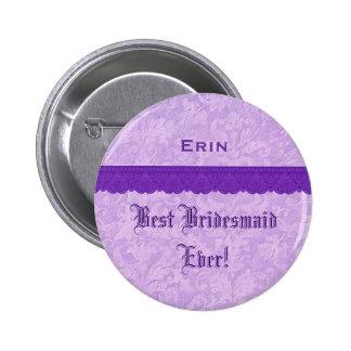 Best Bridesmaid Ever Purple  Lace Ribbon Pins
