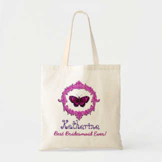 Best Bridesmaid Ever Vintage Butterfly Pink Budget Tote Bag