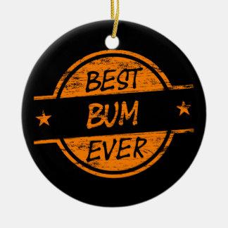 Best Bum Ever Orange Round Ceramic Decoration