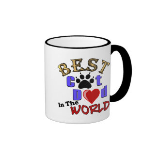 Best Cat Dad In The World for Father's Day Ringer Mug