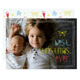 Best.Christmas.Ever Joyful Hand Drawn Fun Photo Card