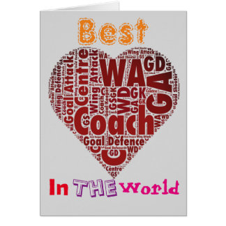 Best Coach Love Netball Design Card