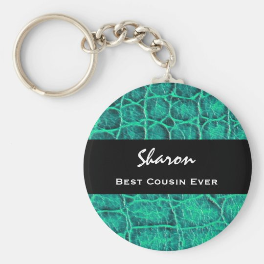 Best COUSIN Ever Teal Green Alligator Print Gift Basic Round Button Key Ring