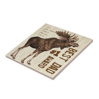 Best Dad # 1 Dad Award Vintage Moose Small Square Tile