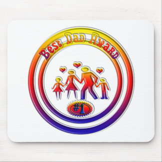 Best DAD Award Rainbow Family Mouse Pad